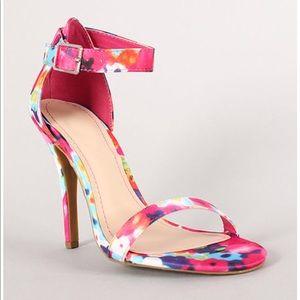 Anne Michelle Watercolor Floral Ankle Strap Heels